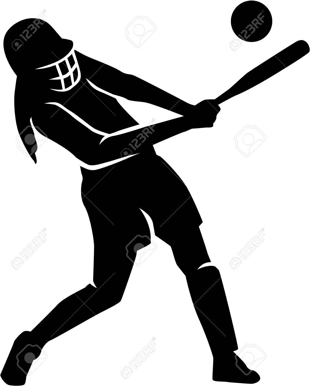 Softball Hitting Clipart.