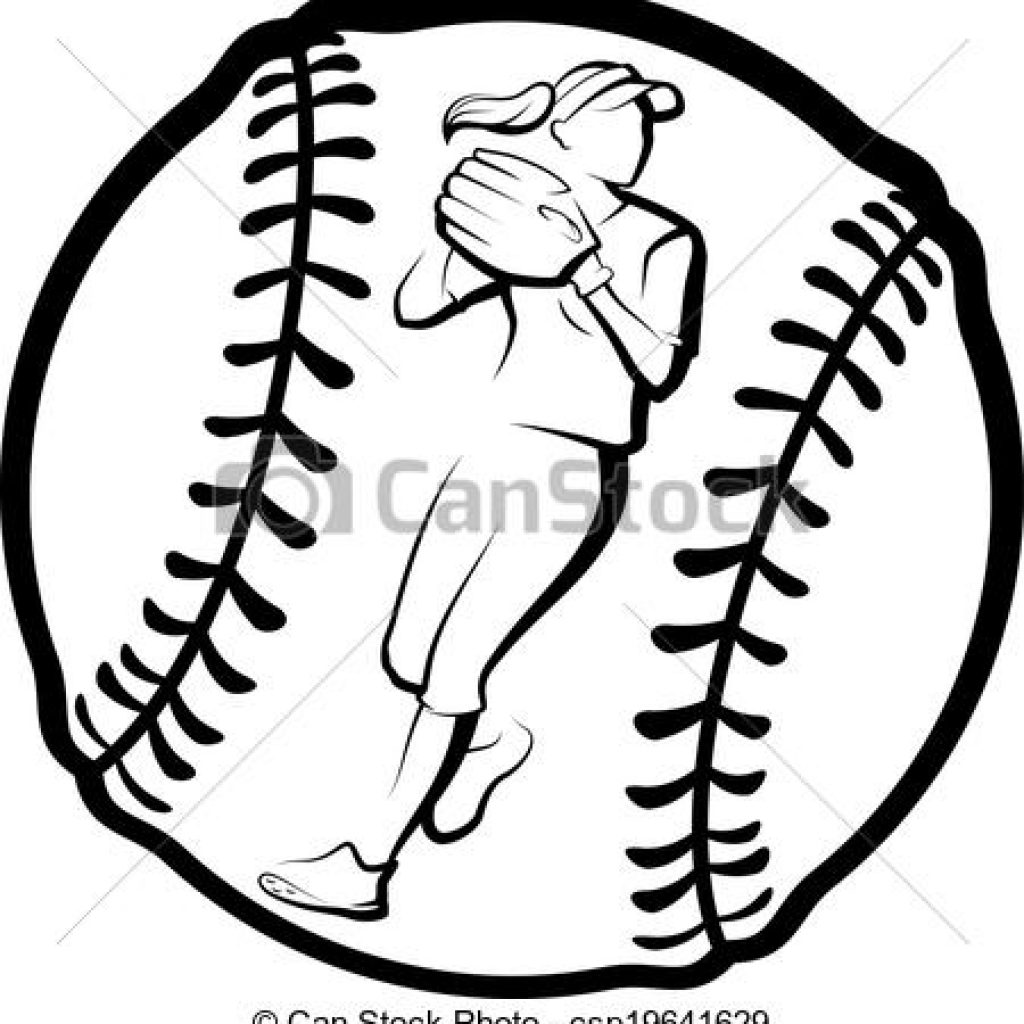 Black And White Softball Clipart.