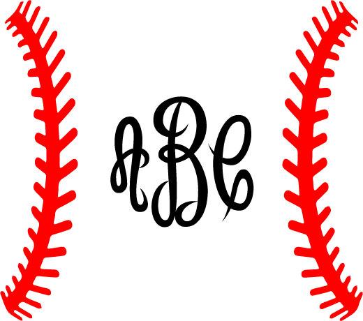 Baseball Laces SVG Baseball Monogram Frame SVG Silhouette.