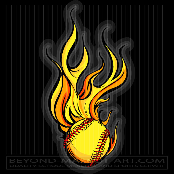 Fastpitch Softball Flame Clipart.