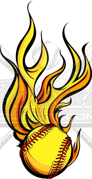Vector Flaming Fastpitch Softball Vector Graphic.