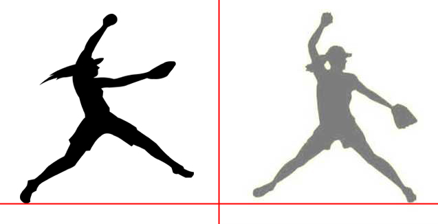 Softball silhouette pitching.