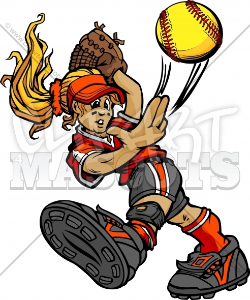 Softball Pitcher Clipart Graphic Vector Cartoon.