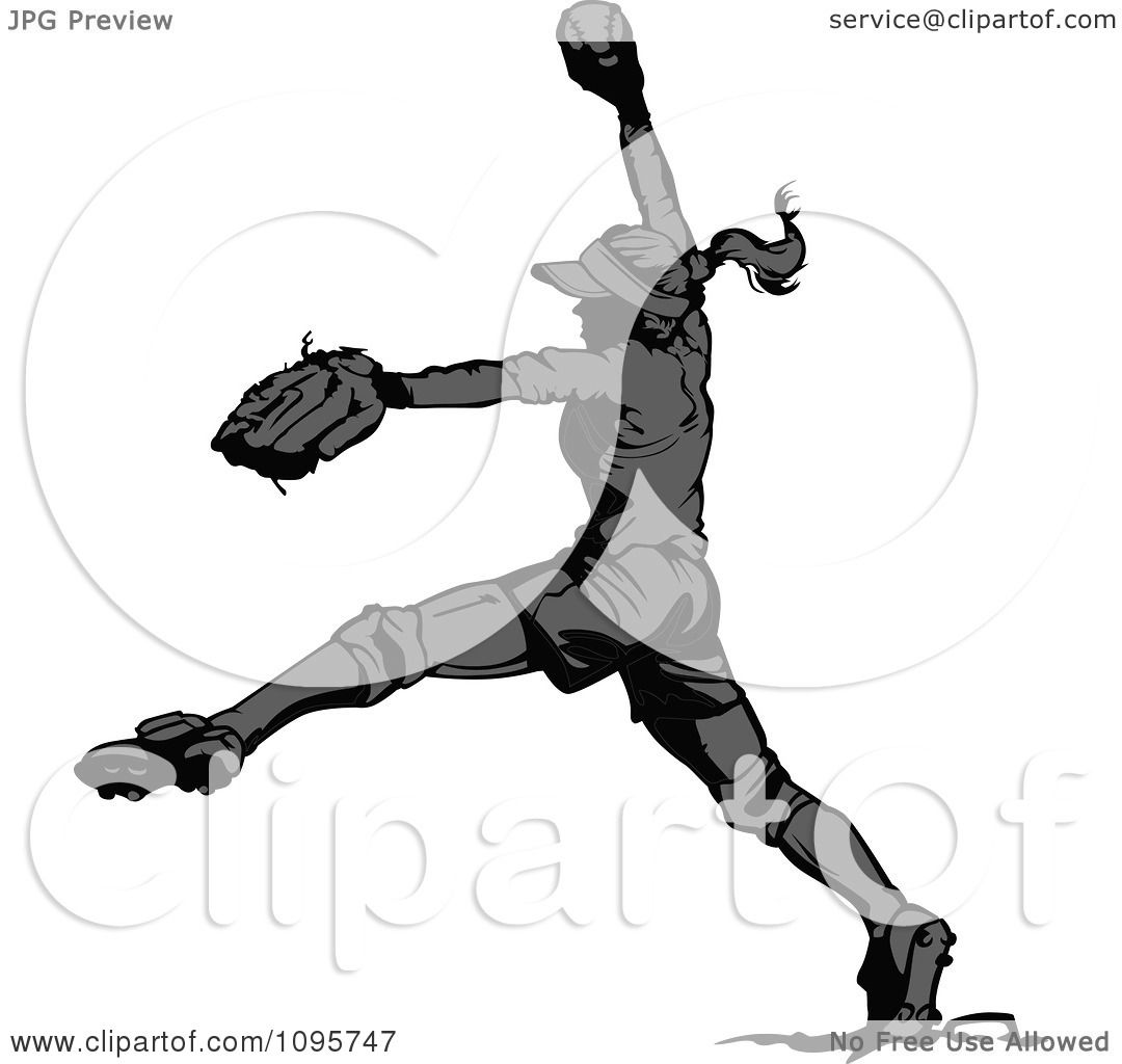 Clipart Grayscale Female Softball Player Pitching A Baseball.