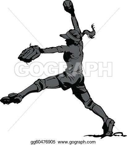 softball clip art fast pitch softball pitcher