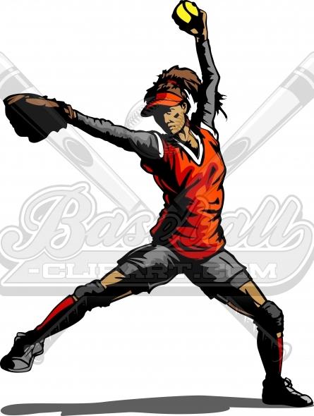 Fastpitch Softball Pitcher Silhouette. Softball Pitcher Clipart..