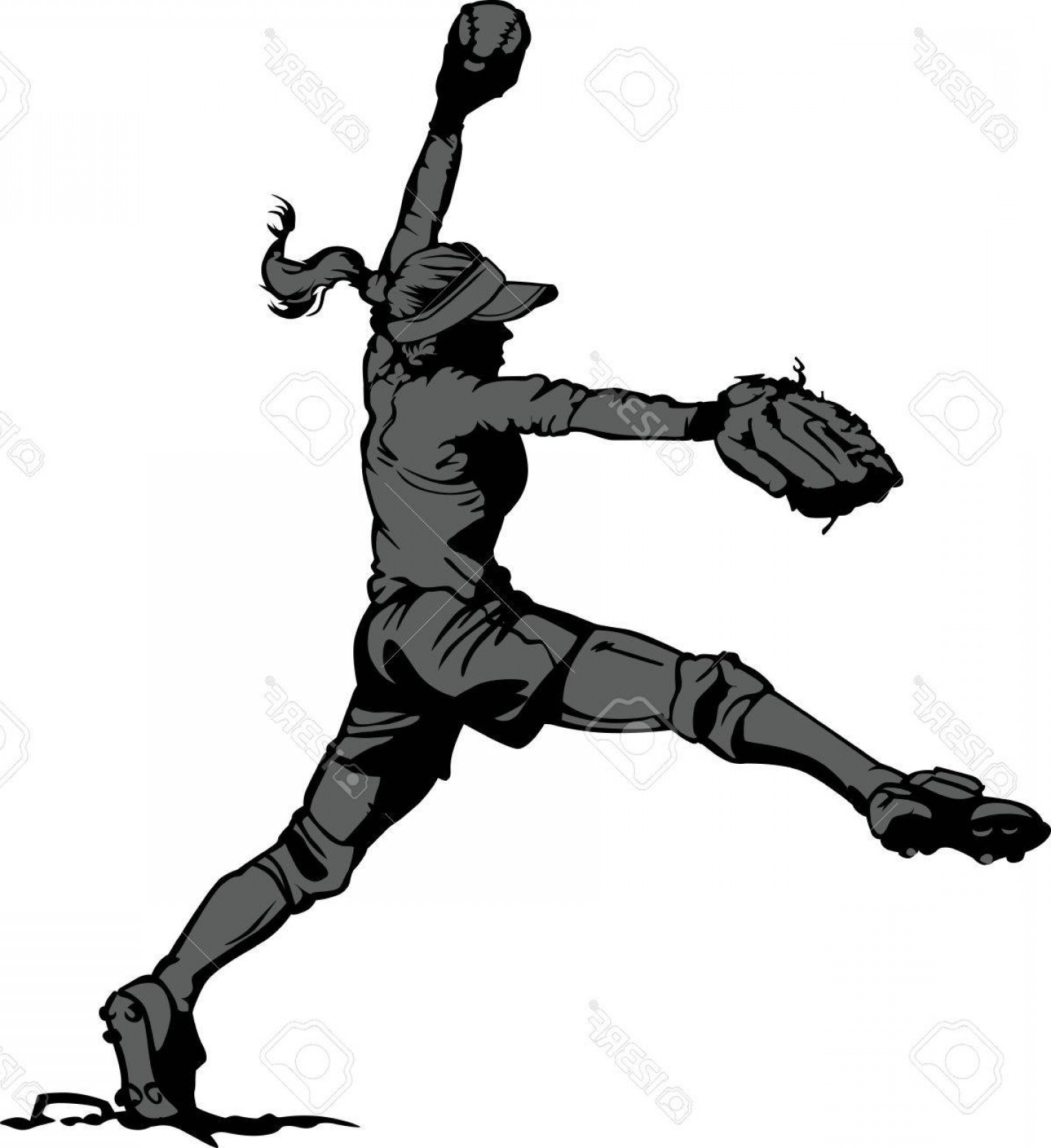 Photovector Illustration Silhouette Of A Fastpitch Softball.