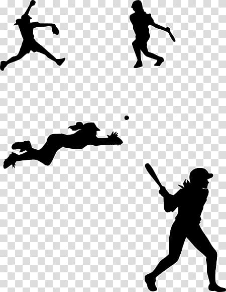 Silhouette of different sports, Softball: Pitching.
