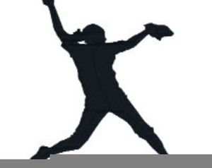 Softball Player Silhouette Clipart.