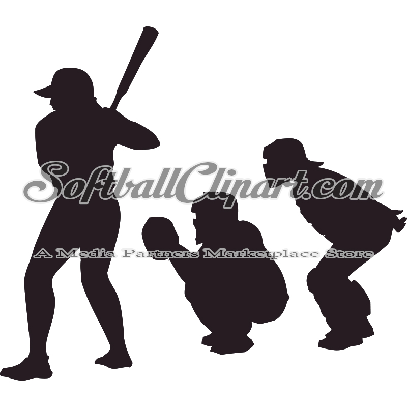 Softball Batter Catcher and Umpire Silhouette Clipart.