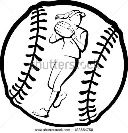 softball slide clipart outline #12