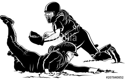 Softball Player Sliding Home Under Tag\
