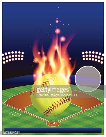 Vector Softball Tournament Illustration Clipart Image.