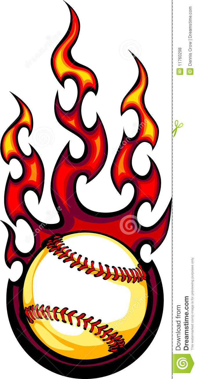 Flaming Softball Clipart.