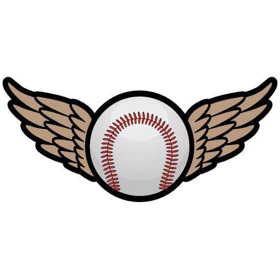 Color Baseball or Softball with Wings Magnet.