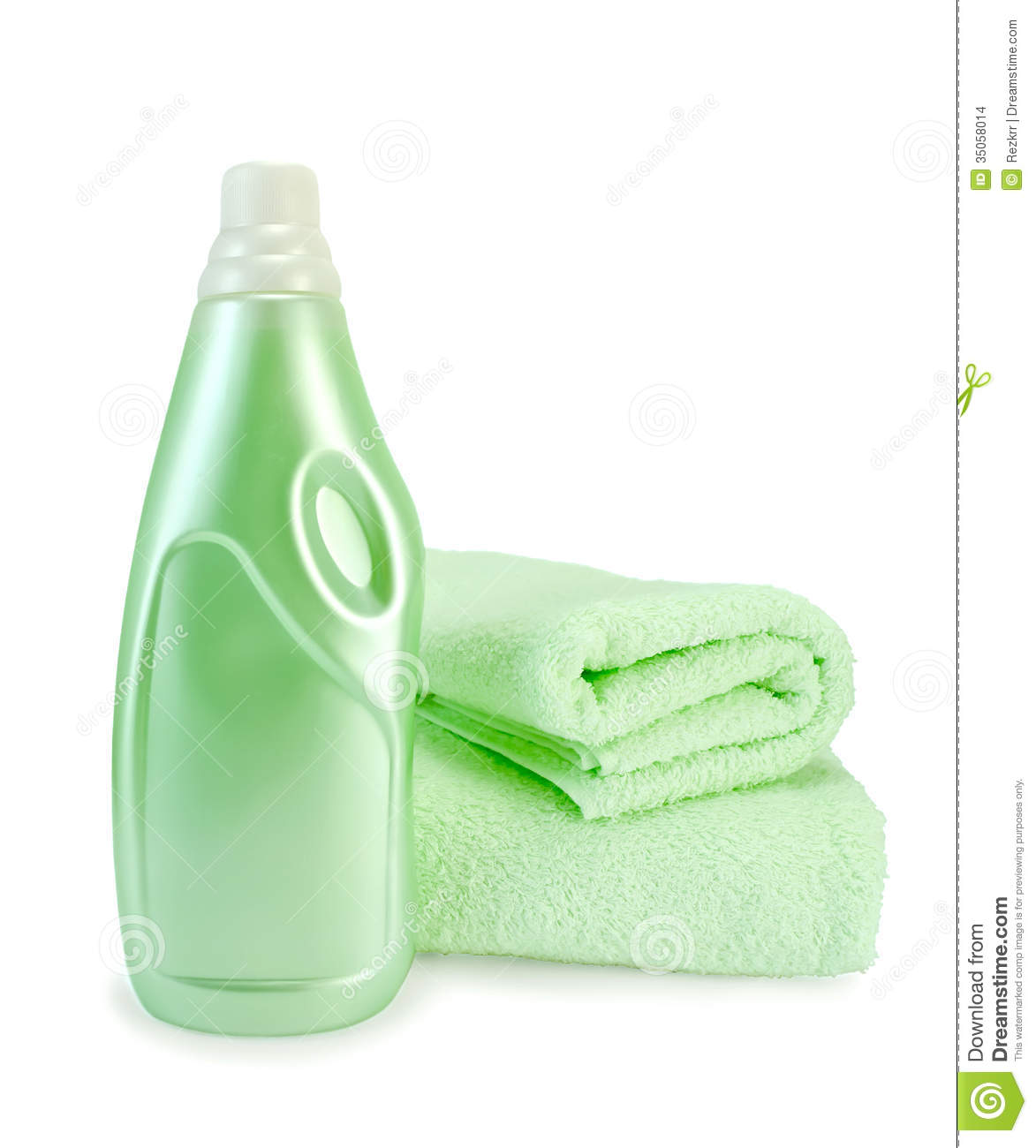 Fabric Softener And Towel Green Stock Images.