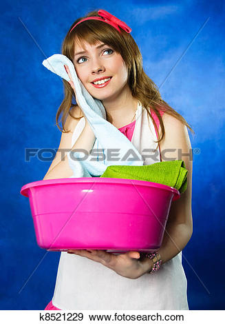Stock Photograph of housewife surprised with the softness ot the.