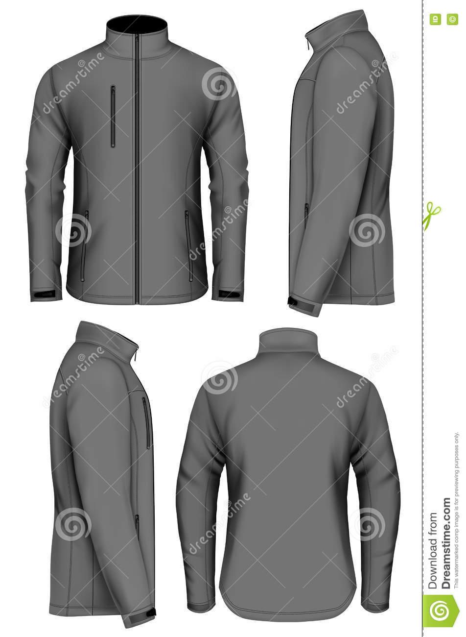 Men Softshell Jacket Design Template Stock Vector.