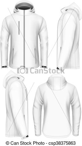 Clip Art Vector of Men hooded softshell jacket design template.