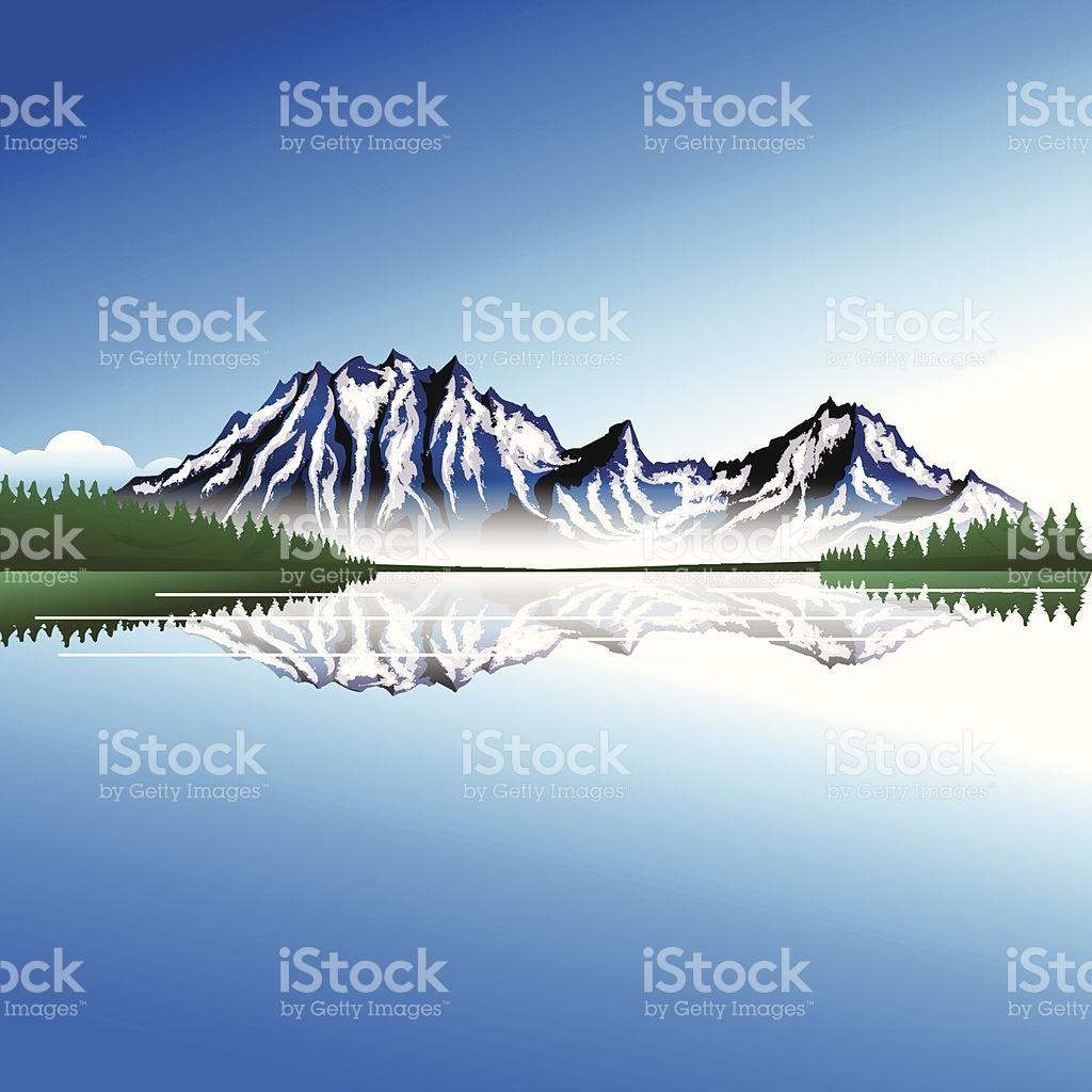 Clipart Einem Berg Und See Mit Bäumen Vektor Illustration.