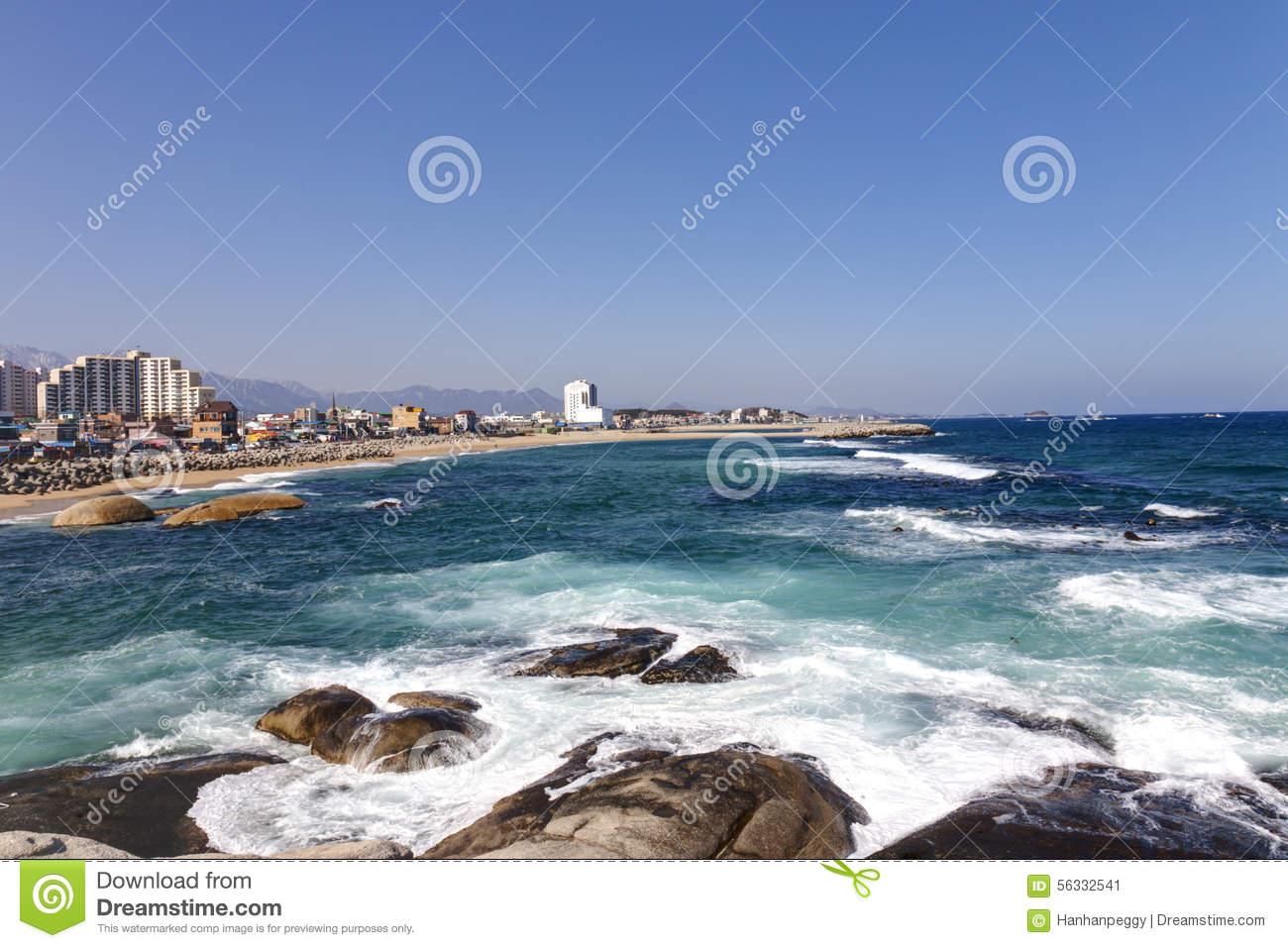 Korean East Coastline, Sokcho Stock Photo.
