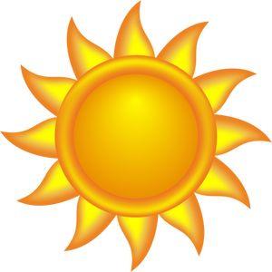 Decorativo sol brilhando com raios vector clipart.