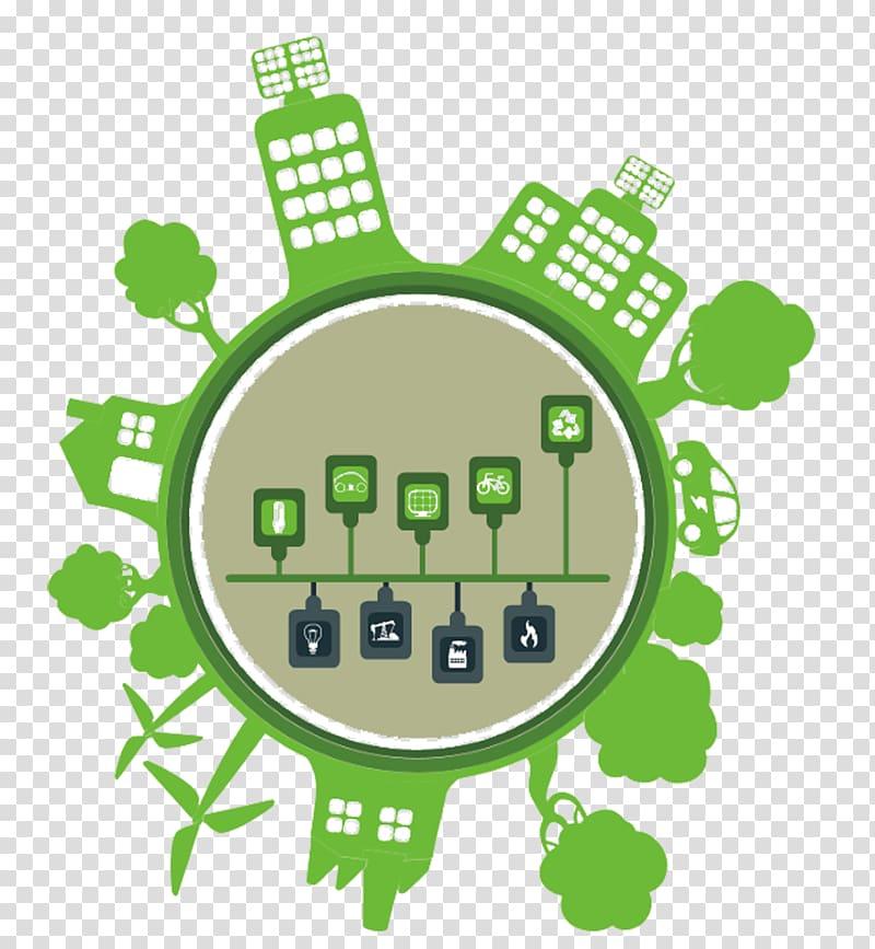 Ecology Solar energy Solar panel Illustration, Green City.
