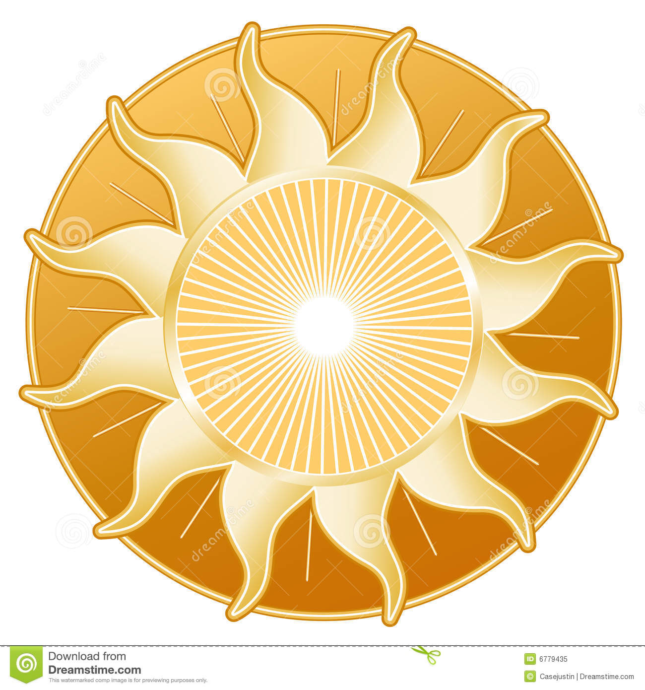 Golden Sun Clip Art Vector Isolated Stock Illustration.