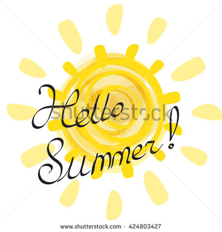 Sun Vector Illustration Isolated. Hello Summer Lettering Against.