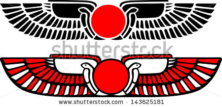 Vector Images, Illustrations and Cliparts: Egypt Sun Disk, Wings.
