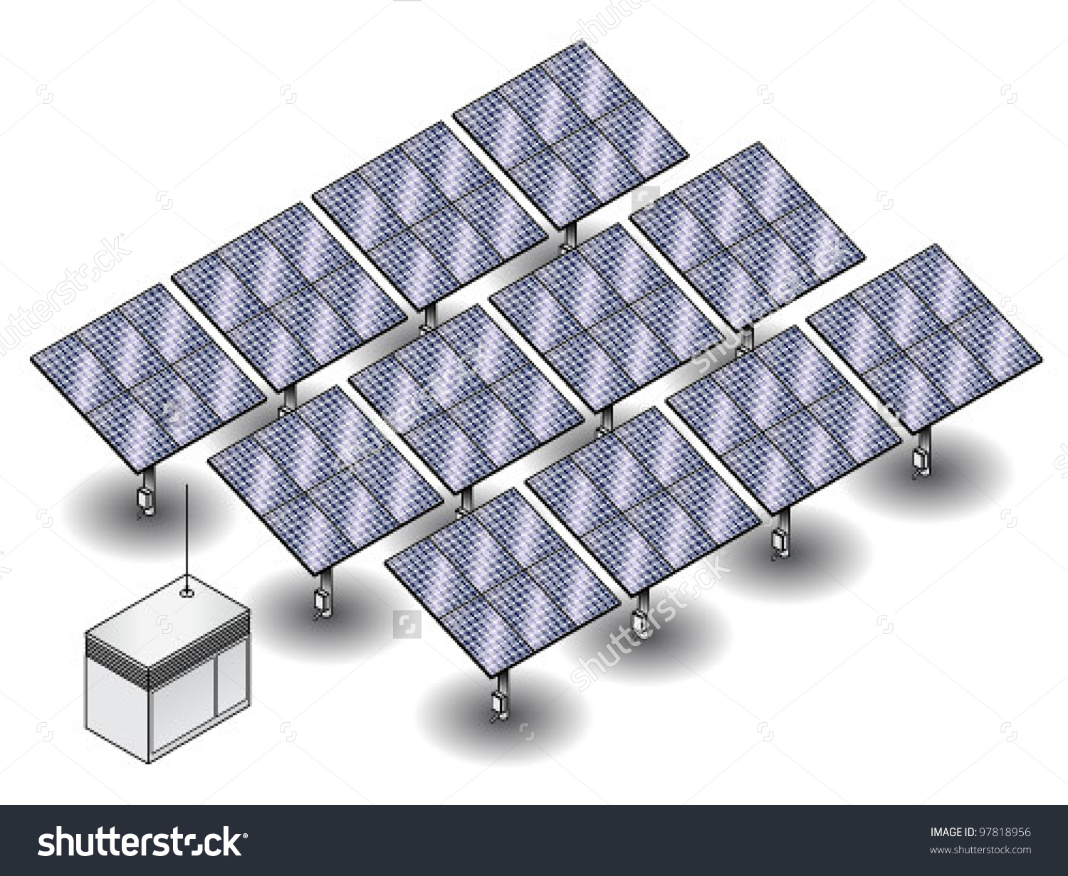A Small Solar Farm With 12 Clusters Of Solar Panels And A Control.