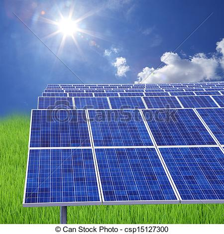 Stock Photography of solar farm eco photovoltaic power station on.