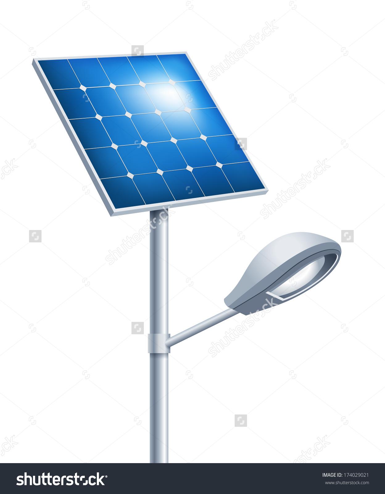 Solar Street Lamp Stock Vector 174029021.