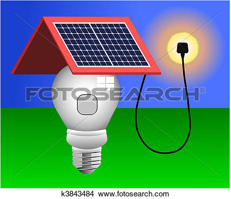 Clipart of Solar Panels, Energy, Light Vector k3843484.