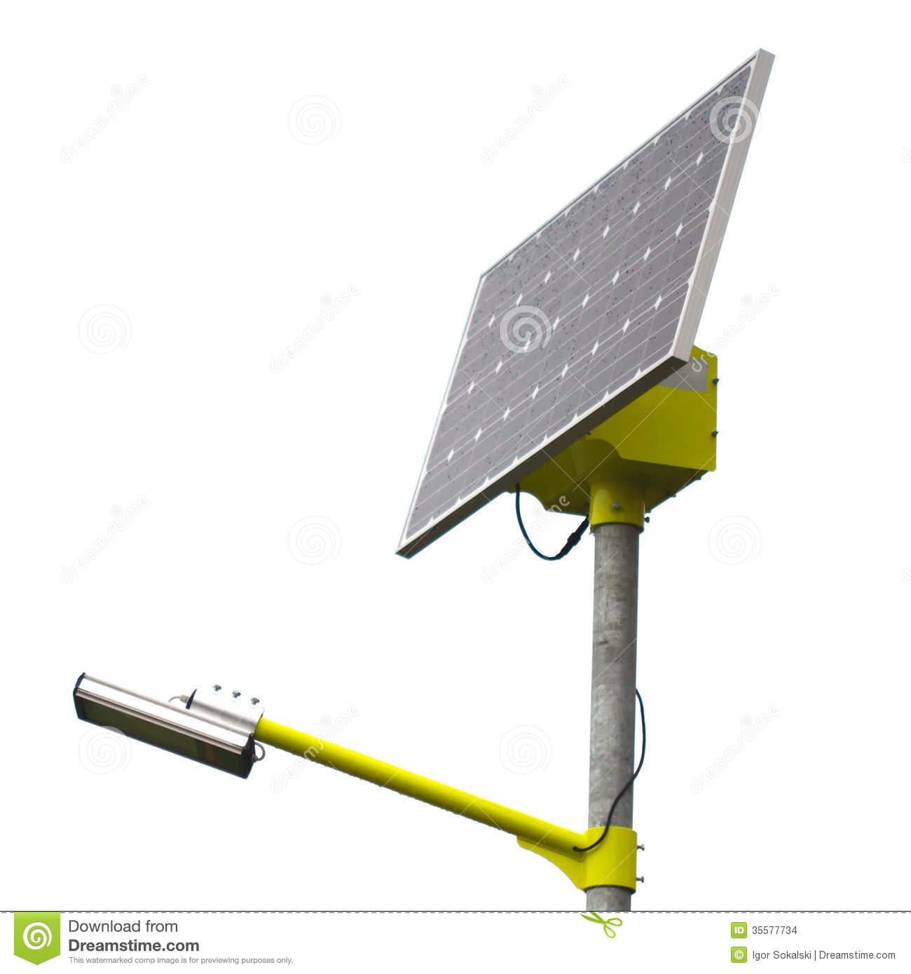 Closeup Of Solar Street Light Lamp Powered By A Solar Panel.