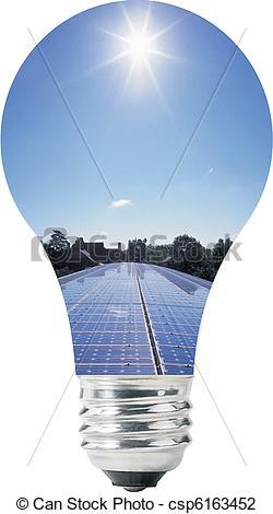 Vector Illustration of Light bulb with solar panels inside, blue.