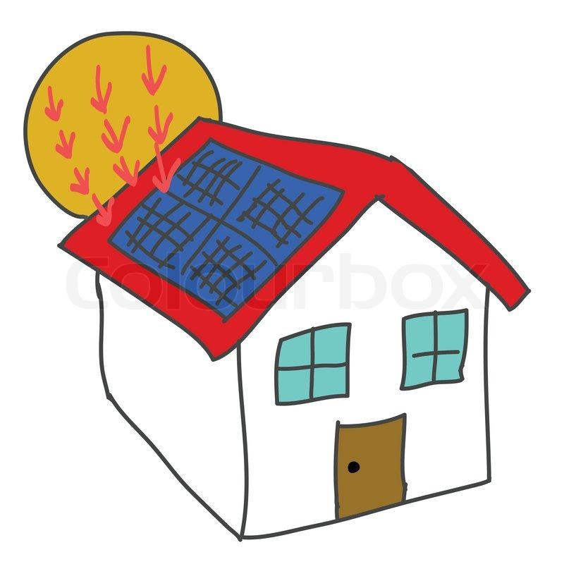 solar panel house clipart #1