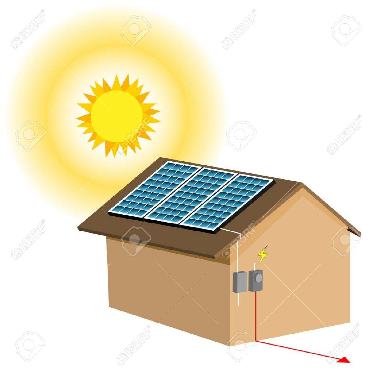 Solar Energy Panels Clipart.
