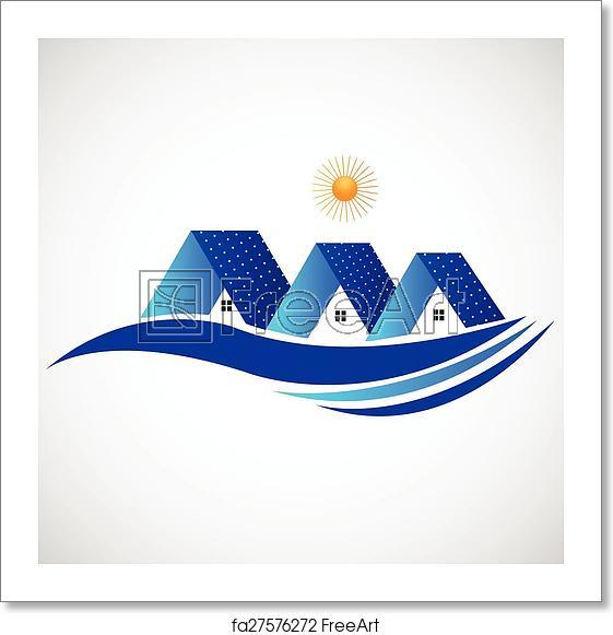 Free art print of Houses with solar panel logo.