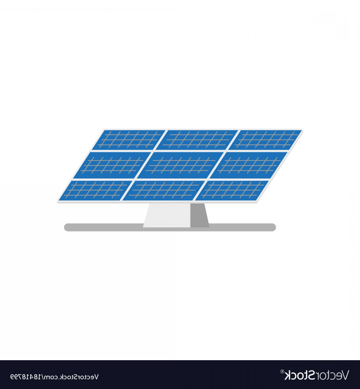 Flat Solar Panel Power Plant Vector.