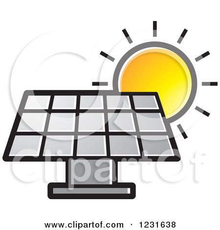 Clipart of a Sun over a Blue Solar Panel Icon.