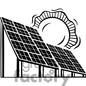 Solar panel clipart black and white.