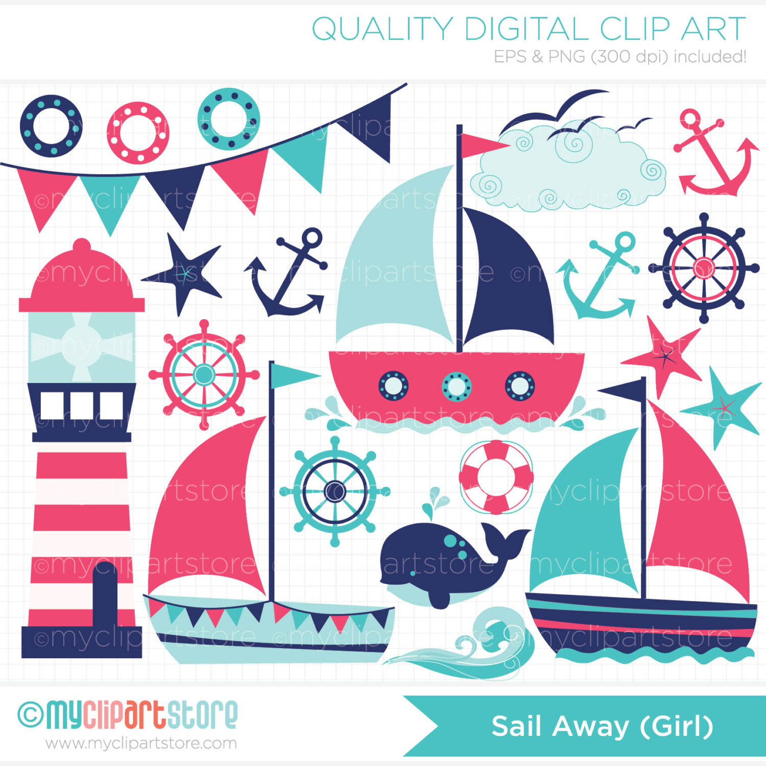 Clipart Sailing / Sail Away Girl Digital Clip by MyClipArtStore.