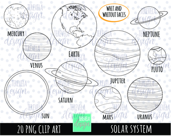 SOLAR SYSTEM BLACK AND WHITE, PLANETS CLIPART.