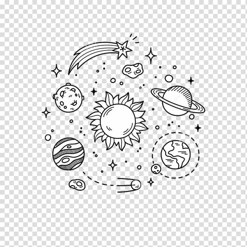 Solar system, sun and stars illustration, Drawing Doodle.