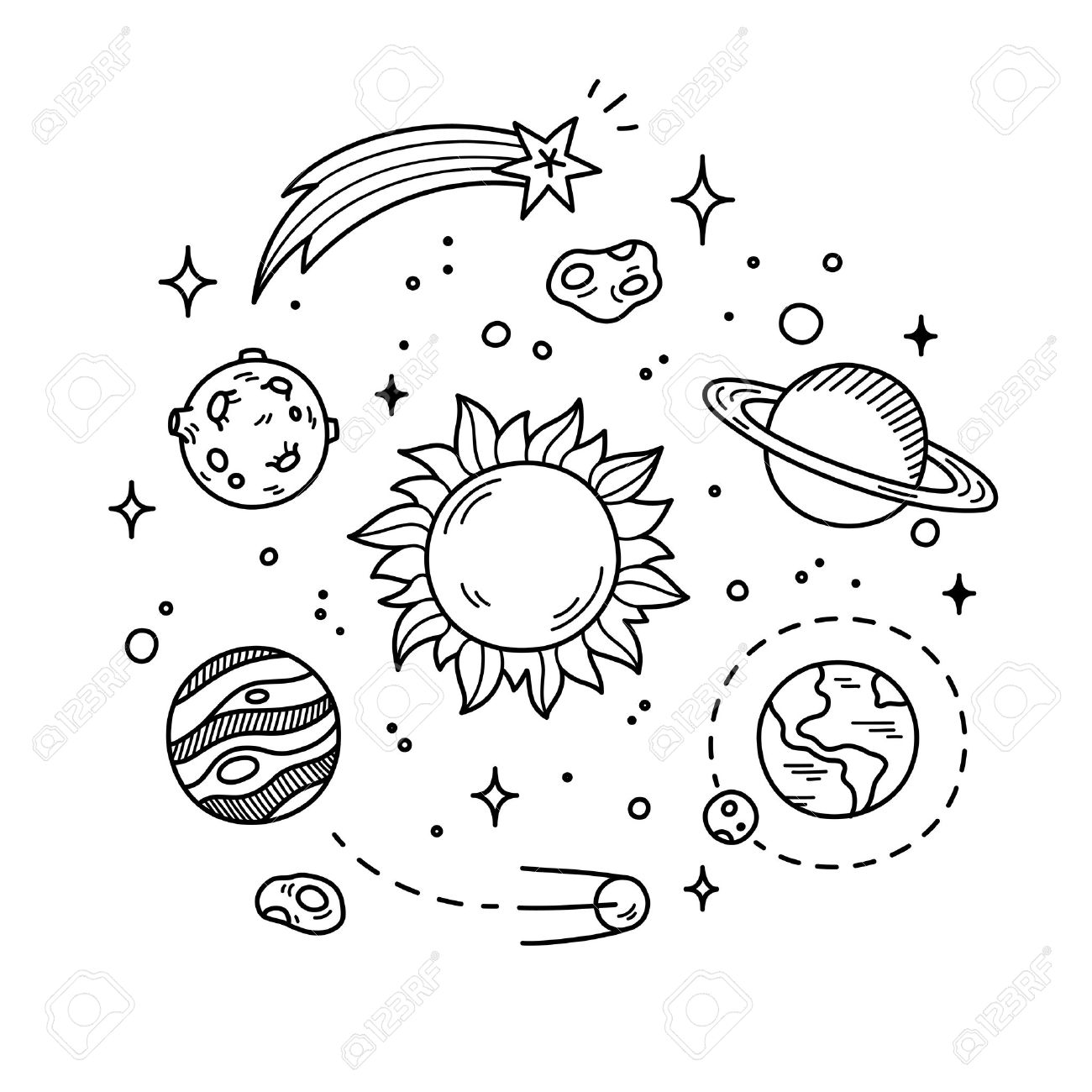 Solar System Clipart Black And White (98+ images in.