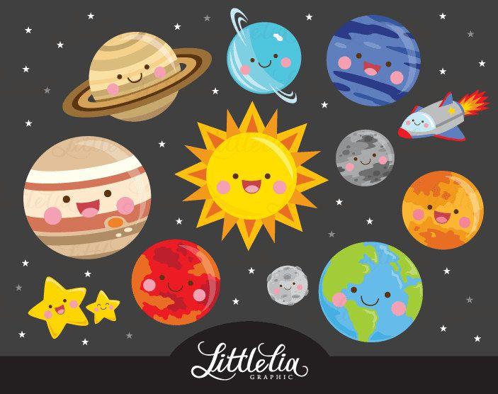 Solar system kawaii clipart.
