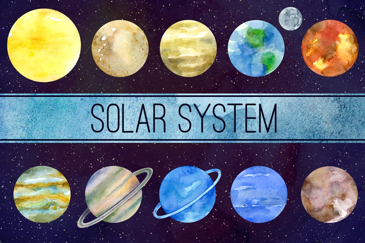 Solar system Watercolor clipart.