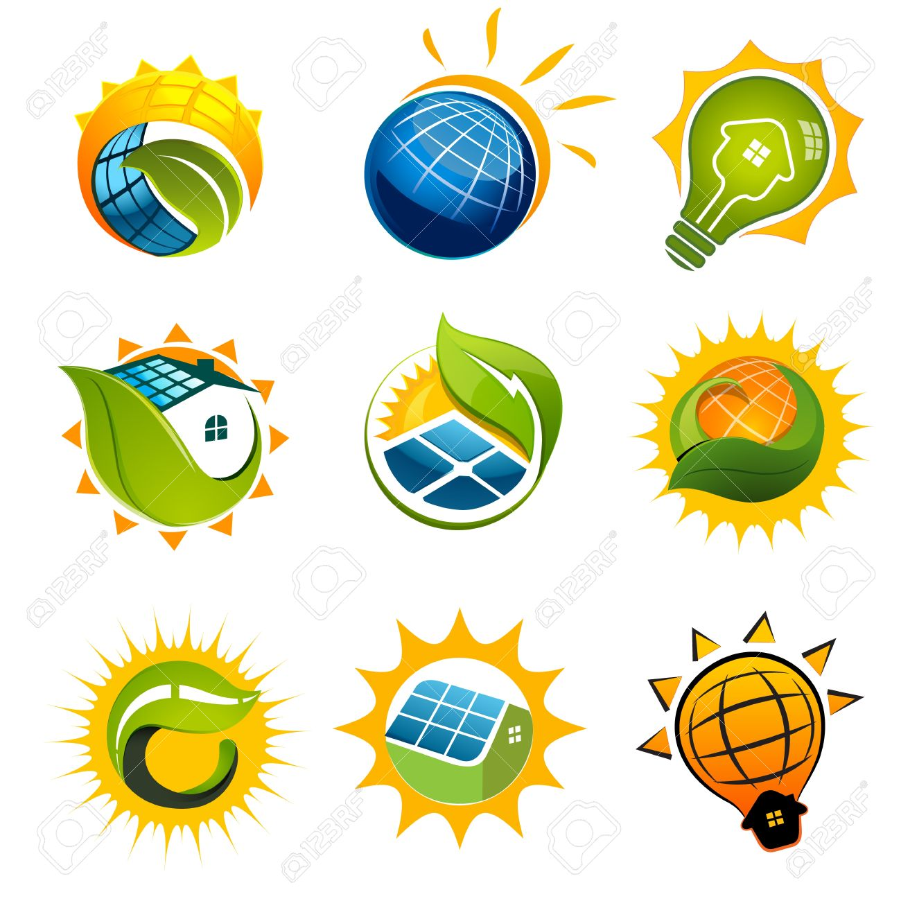 SET OF SOLAR Technology Vector Elements Royalty Free Cliparts.