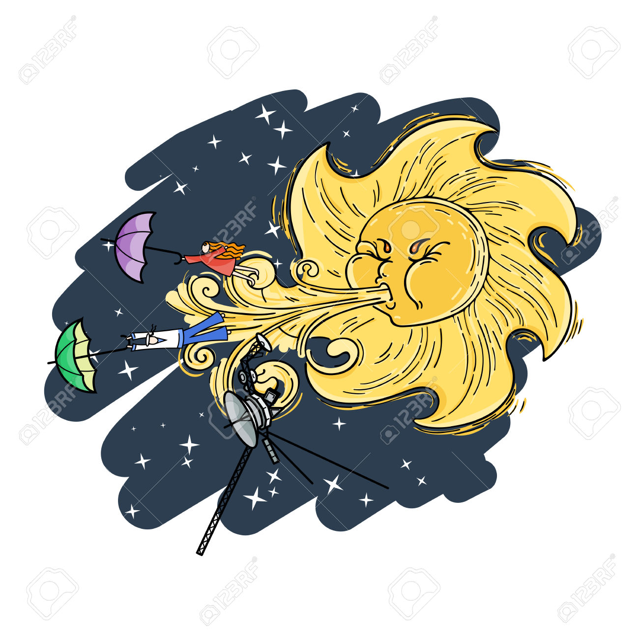 Fantastic Vector Illustration With The Solar Wind, Voyager, And.